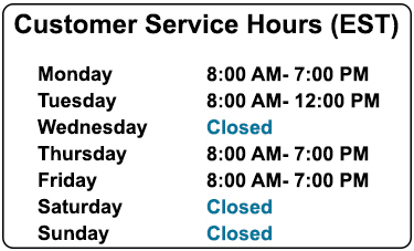 Customer Service Holiday Hours